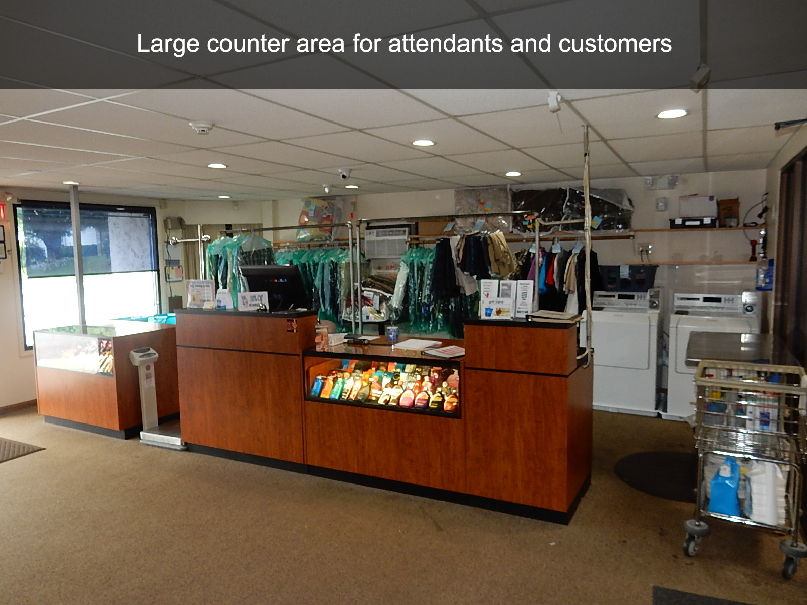 Large counter area for attendants and customers
