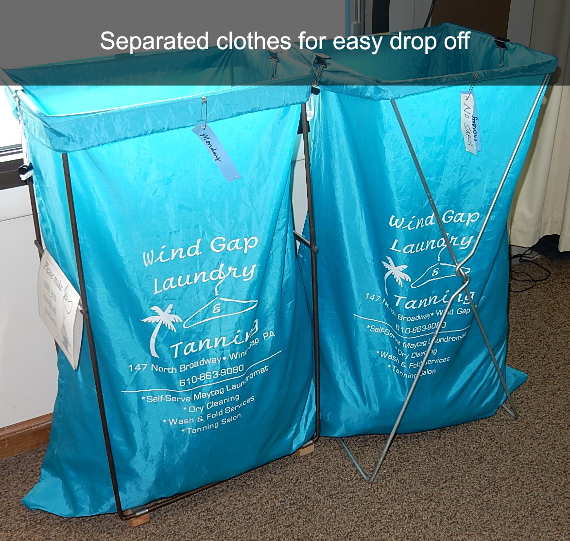 Separated clothes for easy drop off