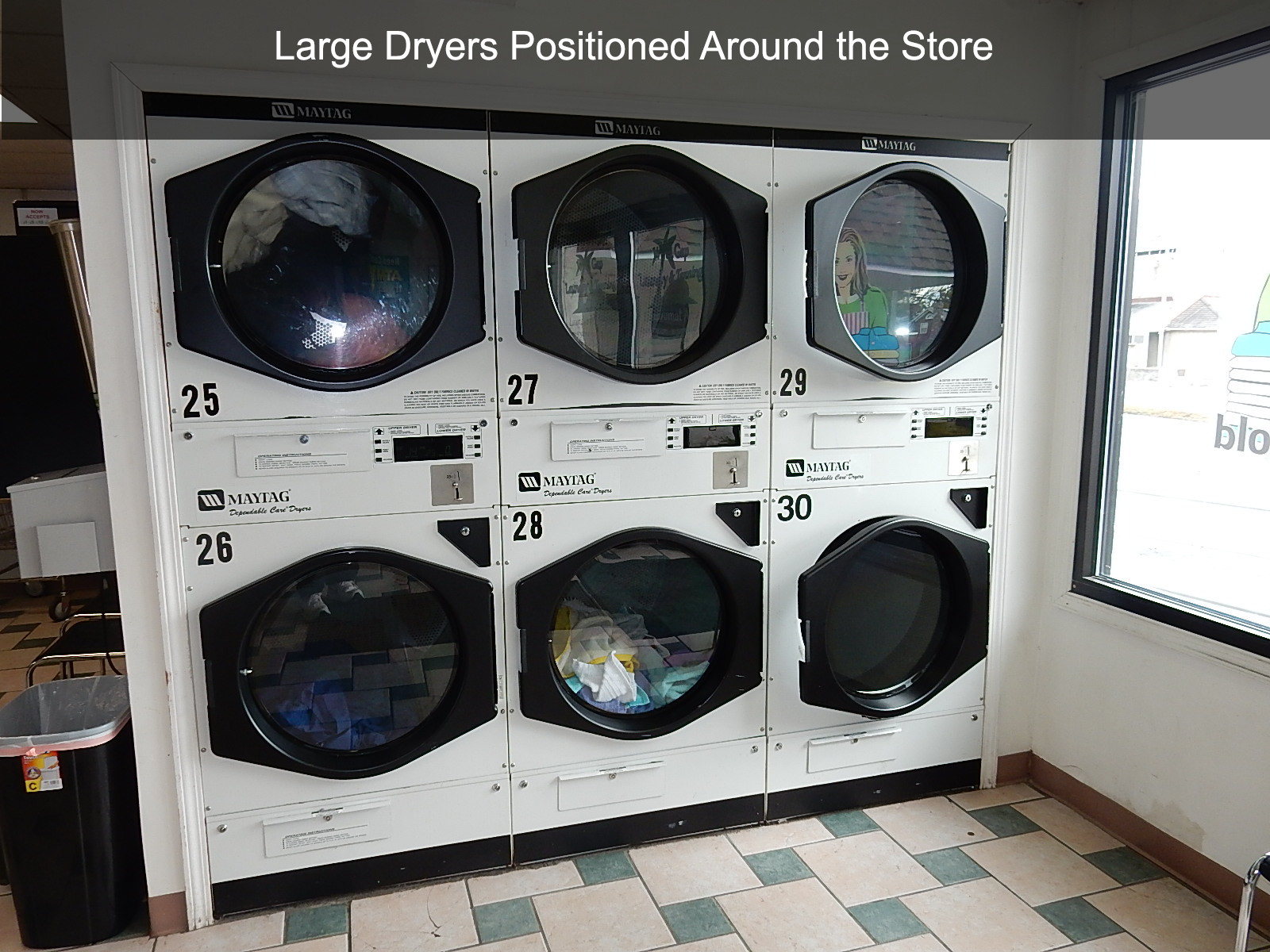 Large Dryers Positioned Around the Store