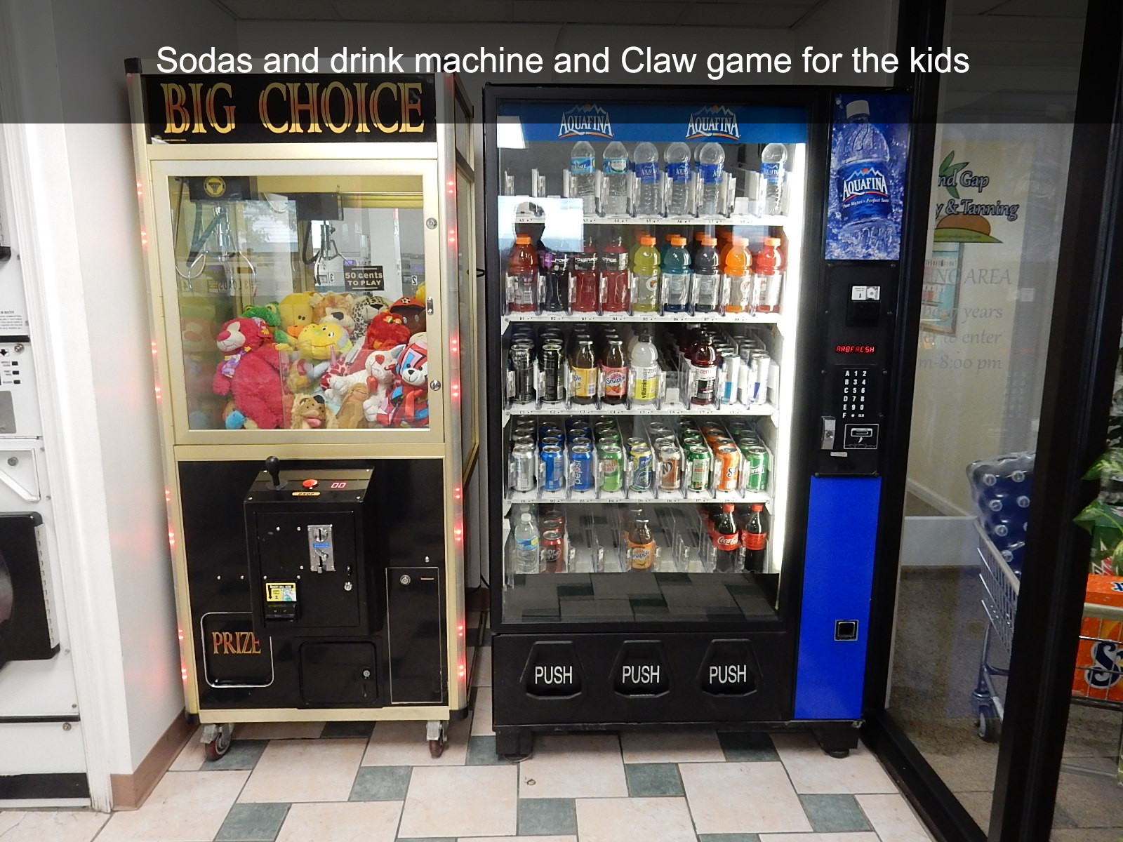 Sodas and drink machine and Claw game for the kids