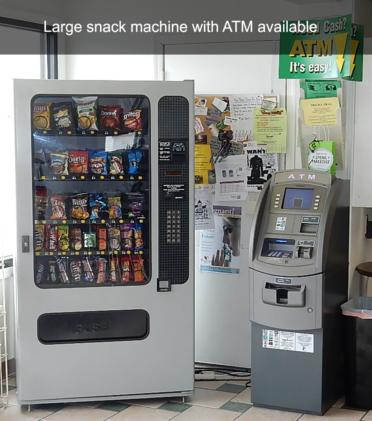 Large snack machine with ATM available