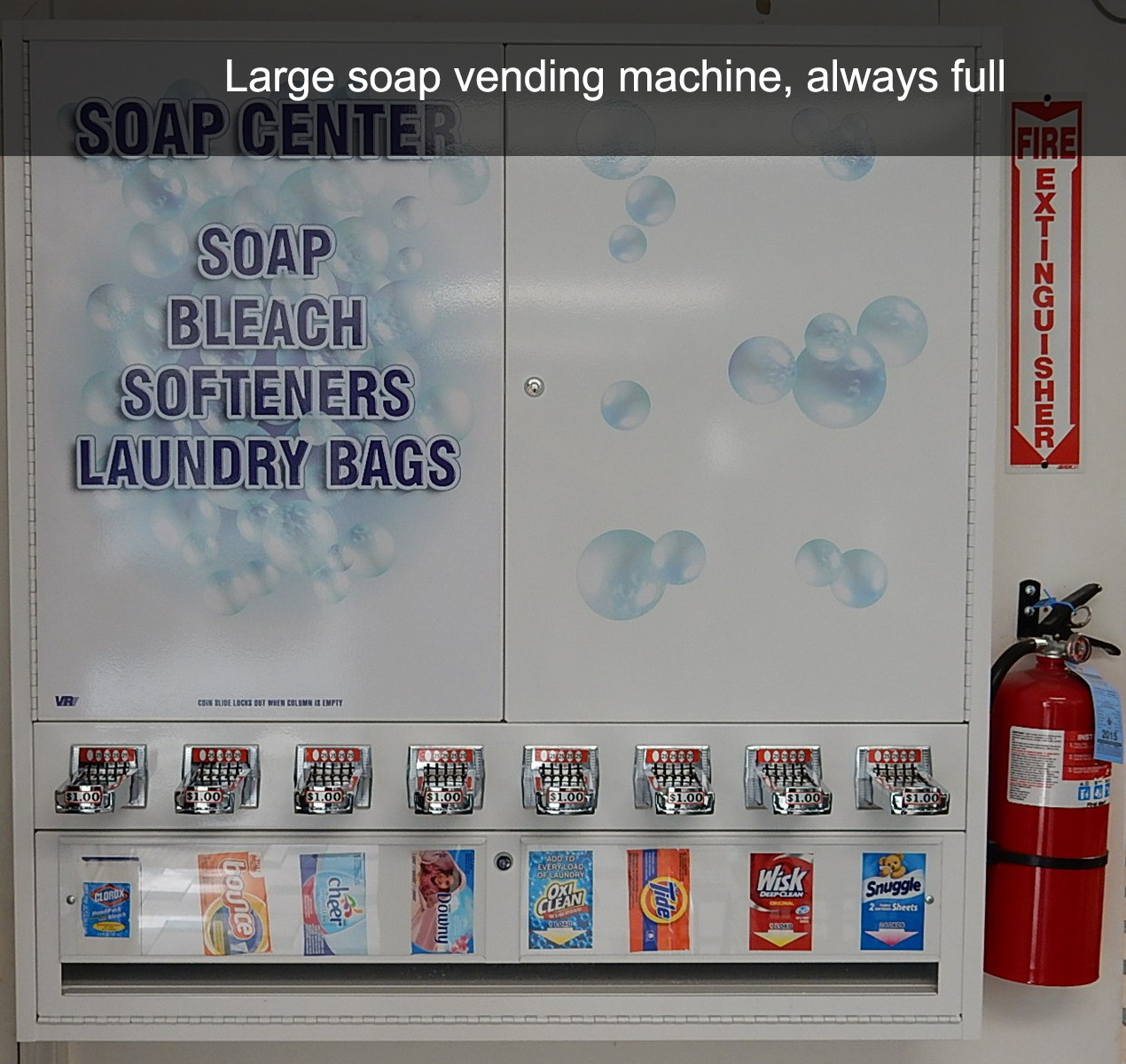 Large soap vending machine, always full