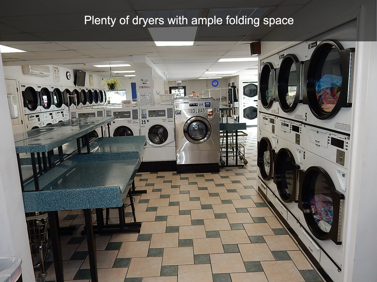 Plenty of dryers with ample folding space